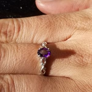 Amethyst with Sterling Silver Band